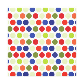 Fun Red Blue Green Polka Dot Pattern Stretched Canvas Prints