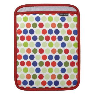 Fun Red Blue Green Polka Dot Pattern iPad Sleeves
