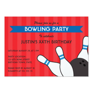 Fun red blue modern bowling birthday party 5x7 paper invitation card