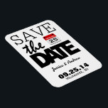 "Fun Red Calendar | Save The Date Magnet<br><div class=""desc"">You&#39;re engaged and you&#39;ve set the date! Let your friends and family know about your impending nuptials in style with this bold,  fun,  funky and modern Save The Date design.</div>"