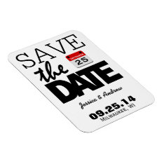 Fun Red Calendar | Save The Date Magnet at Zazzle