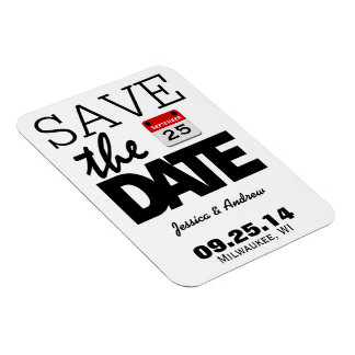 Fun Red Calendar | Save The Date Magnet