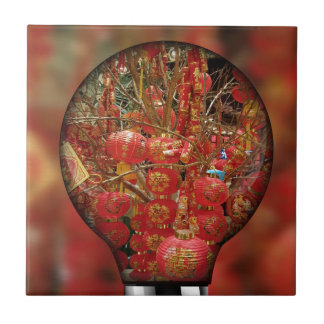 Fun Red Chinese Lanterns Light Bulb Overlay Ceramic Tile