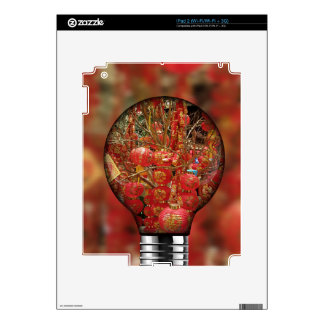 Fun Red Chinese Lanterns Light Bulb Overlay Decal For The iPad 2