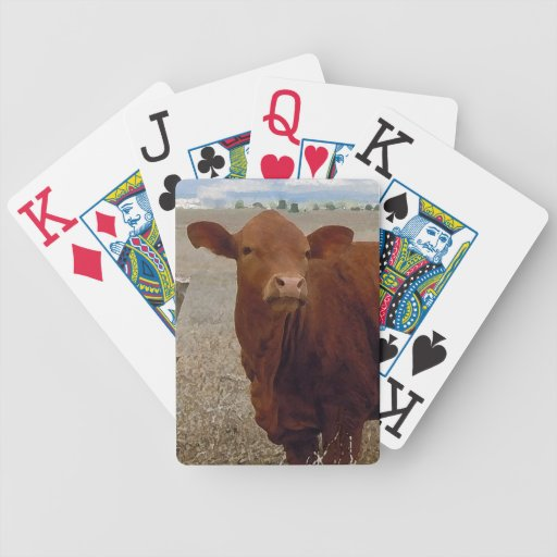 Fun Red Cow Face Cattle Western Bicycle Playing Cards