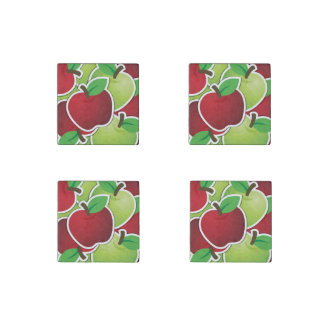 Fun Red & Green Apples Fruit Design Stone Magnet