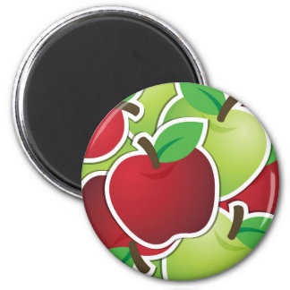 Fun Red & Green Apples Fruit Design Refrigerator Magnets