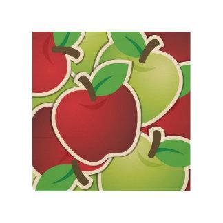 Fun Red & Green Apples Fruit Design Wood Wall Art