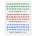 [ Thumbnail: Fun Red, Green, Blue Bold Alphabet Characters Temporary Tattoos ]