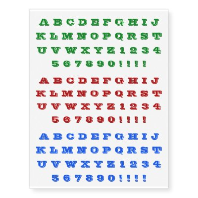 Alphabet Letters Numbers Temporary Knuckle Tattoos Zazzlecom