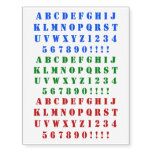 [ Thumbnail: Fun Red, Green, Blue Stencil Alphabet Characters Temporary Tattoos ]