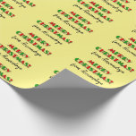 "[ Thumbnail: Fun Red & Green ""Merry Christmas!"", Custom Name Wrapping Paper ]"
