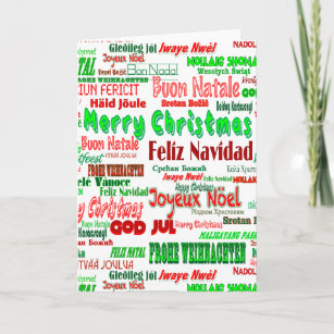 International merry christmas cards zazzle fun red green merry christmas in many languages holiday card m4hsunfo