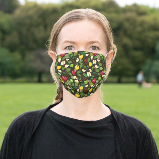 Fun Red Green Yellow Apples Pattern Cloth Face Mask