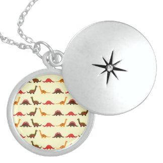 Fun Red Orange and Green Dinosaur Pattern Locket Necklace