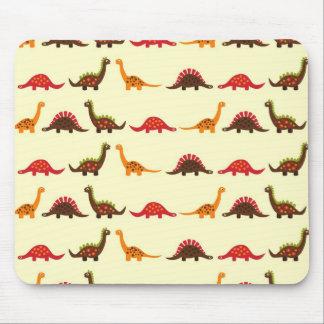 Fun Red Orange and Green Dinosaur Pattern Mousepad