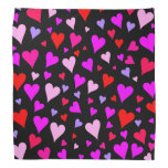 [ Thumbnail: Fun Red, Pink, Purple & Magenta Hearts Pattern Bandana ]