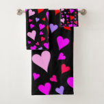 [ Thumbnail: Fun Red, Pink, Purple & Magenta Hearts Pattern Bath Towel Set ]