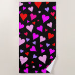 [ Thumbnail: Fun Red, Pink, Purple & Magenta Hearts Pattern Beach Towel ]