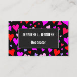 [ Thumbnail: Fun Red, Pink, Purple & Magenta Hearts Pattern Card ]