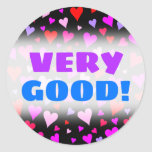 [ Thumbnail: Fun Red, Pink, Purple & Magenta Hearts Pattern Round Sticker ]