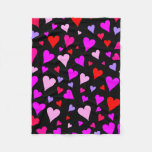 [ Thumbnail: Fun Red, Pink, Purple & Magenta Hearts Pattern Fleece Blanket ]