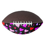 [ Thumbnail: Fun Red, Pink, Purple & Magenta Hearts Pattern Football ]