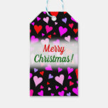 [ Thumbnail: Fun Red, Pink, Purple & Magenta Hearts Pattern Gift Tags ]