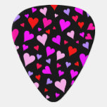 [ Thumbnail: Fun Red, Pink, Purple & Magenta Hearts Pattern Guitar Pick ]