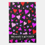 [ Thumbnail: Fun Red, Pink, Purple & Magenta Hearts Pattern Kitchen Towel ]