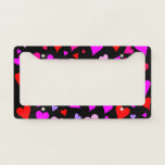 [ Thumbnail: Fun Red, Pink, Purple & Magenta Hearts Pattern License Plate Frame ]