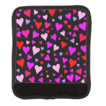 [ Thumbnail: Fun Red, Pink, Purple & Magenta Hearts Pattern Luggage Handle Wrap ]