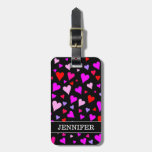 [ Thumbnail: Fun Red, Pink, Purple & Magenta Hearts Pattern Luggage Tag ]