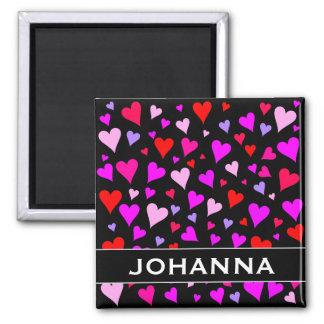 Fun Red, Pink, Purple & Magenta Hearts Pattern Magnet