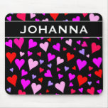 [ Thumbnail: Fun Red, Pink, Purple & Magenta Hearts Pattern Mouse Pad ]
