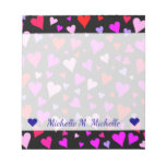 [ Thumbnail: Fun Red, Pink, Purple & Magenta Hearts Pattern Notepad ]