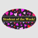 [ Thumbnail: Fun Red, Pink, Purple & Magenta Hearts Pattern Sticker ]