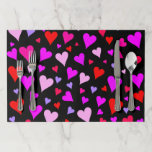 [ Thumbnail: Fun Red, Pink, Purple & Magenta Hearts Pattern Paper Placemat ]