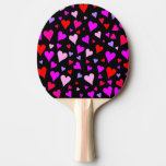 [ Thumbnail: Fun Red, Pink, Purple & Magenta Hearts Pattern Paddle ]