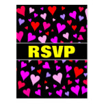 [ Thumbnail: Fun Red, Pink, Purple & Magenta Hearts Pattern Postcard ]