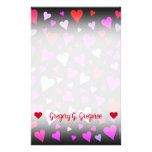 [ Thumbnail: Fun Red, Pink, Purple & Magenta Hearts Pattern Stationery ]