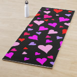 [ Thumbnail: Fun Red, Pink, Purple & Magenta Hearts Pattern Yoga Mat ]