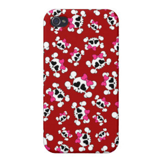 Fun red skulls and bows pattern iPhone 4 covers