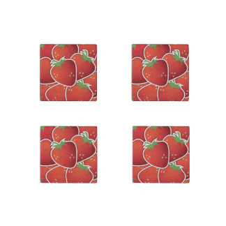 Fun Red Strawberry Fruit Design Stone Magnet