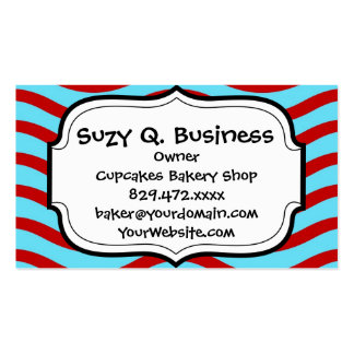 Fun Red Teal Turquoise Wavy Lines Stripes Pattern Business Card