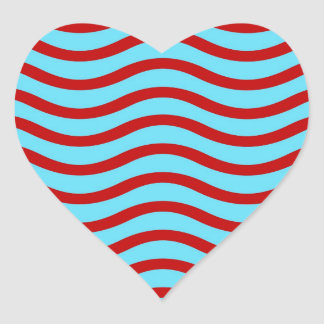 Fun Red Teal Turquoise Wavy Lines Stripes Pattern Heart Sticker