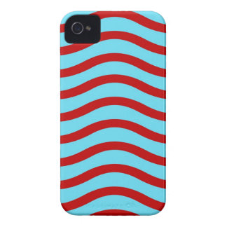 Fun Red Teal Turquoise Wavy Lines Stripes Pattern iPhone 4 Case