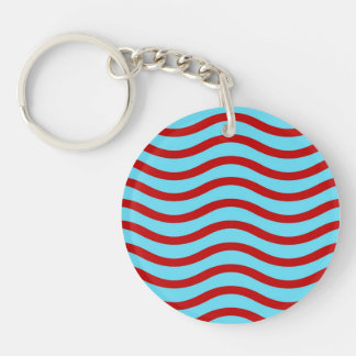 Fun Red Teal Turquoise Wavy Lines Stripes Pattern Double-Sided Round Acrylic Keychain