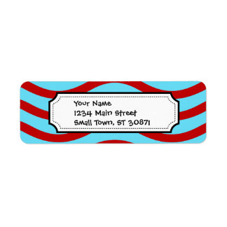 Fun Red Teal Turquoise Wavy Lines Stripes Pattern Label