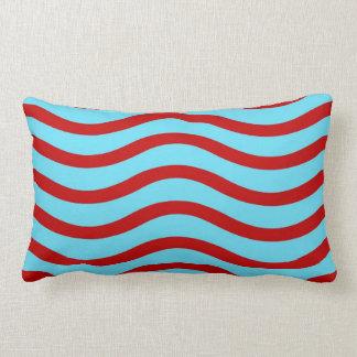 Fun Red Teal Turquoise Wavy Lines Stripes Pattern Lumbar Pillow